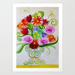 bouquet in ethnic style vase Art Print