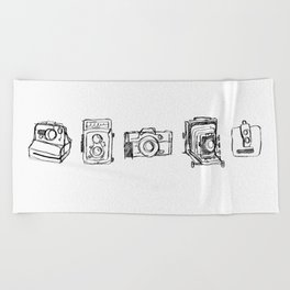 Vintage Camera Line Drawing Beach Towel