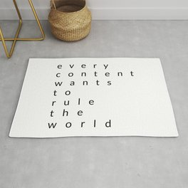 every content wants to rule the world Rug