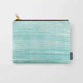 Mint & White Water breeze stripes Carry-All Pouch