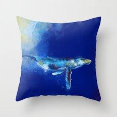 Deep Blue Whale Throw Pillow