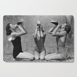 What the girls drink when the guys aren't looking - three girlfriends drinking at the beach black and white photograph Cutting Board