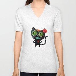 Black cat of the dead Unisex V-Neck