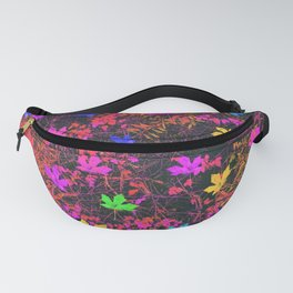 maple leaf in yellow green pink blue red with red and orange creepers plants background Fanny Pack
