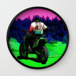 Checking the Track - Motocross Racer Wall Clock