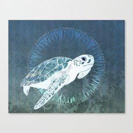 Green Sea Turtle Wreath Canvas Print