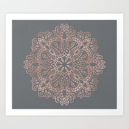 Mandala Rose Gold Pink Shimmer on Soft Gray by Nature Magick Art Print