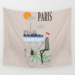 Paris - In the City - Retro Travel Poster Design Wall Tapestry