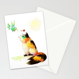 The cat and the hummingbird Stationery Cards