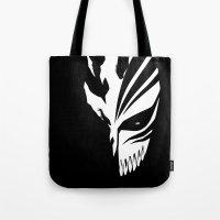 bleach Tote Bags featuring Bleach- Ichigo Kurosaki Hollow Mask by Ren Flexx