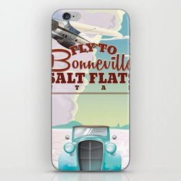 Bonneville Salt Flat Utah vintage travel poster iPhone Skin