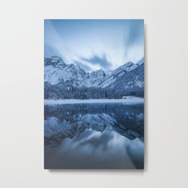 Majestic mountain Mangart reflection Fusine lake Italy Metal Print