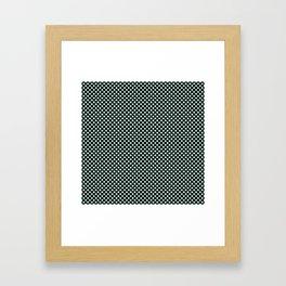 Black and Honeydew Polka Dots Framed Art Print