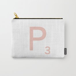 Pink Scrabble Letter P - Scrabble Tile Art and Accessories Carry-All Pouch