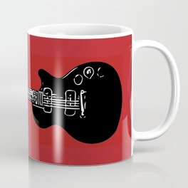 Electric Guitar (Black on Red) Coffee Mug