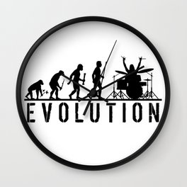 The Evolution Of Man And Drums Wall Clock