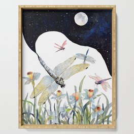 Good Night Surreal Dragonfly Artwork Serving Tray