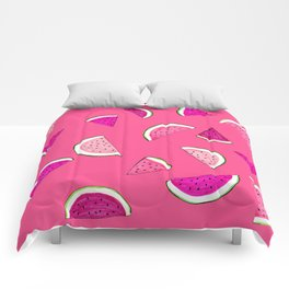 Bright Pink 'Watermelon Dreaming' Pattern Comforters