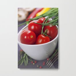 Tomatoes, chives and vegetables on a table Metal Print