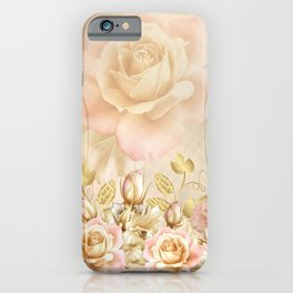 Blush Roses and Golden Leaves iPhone Case
