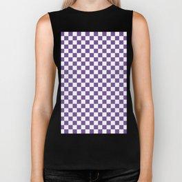 Small Checkered - White and Dark Lavender Violet Biker Tank