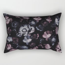 Moody Dark Floral - purple blue roses and peonies on black Rectangular Pillow