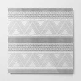 Dutch Wax Tribal Print in Grey Metal Print