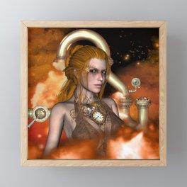 Steampunk, Beautiful steampunk women Framed Mini Art Print