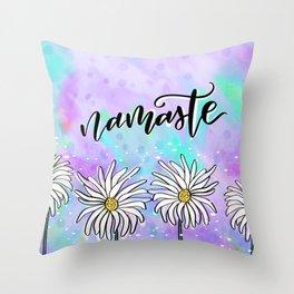 Namaste Daisies Throw Pillow