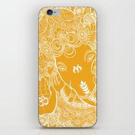 Ganesha Lineart Yellow White iPhone Skin