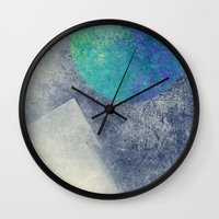 the moon Wall Clocks featuring moon by Claudia Drossert