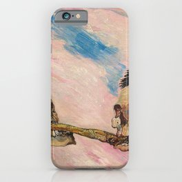 Skeletons Fighting portrait painting by James Ensor iPhone Case