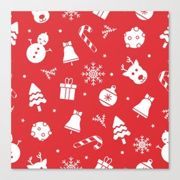 Merry Christmas Pattern - Red Canvas Print
