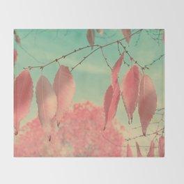 Flamingo Pink Autumn Leaves Throw Blanket