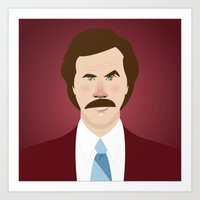 will ferrell Art Prints featuring Anchorman by Brettmatic