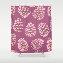 Blushing Deep Pine Cones Shower Curtain