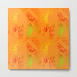 Pattern of neon feathers and leaves on a yellow background. Metal Print