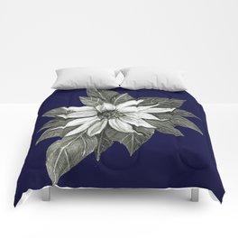 Florida Flower Navy Blue Background Comforters