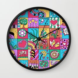 Inchie Doodle Design - Blue Red - Spring Wall Clock