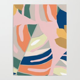 Monstera leaf Jungle mid century modern paper collage Poster