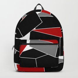 Falling - Abstract - Black, Gray, Red, White Backpack