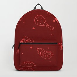 Fast Food Snacks Attack - Pizza Pie Hot Dogs Chicken Wings! on Red Backpack