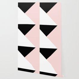 Blush meets Black & White Geometric #1 #minimal #decor #art #society6 Wallpaper