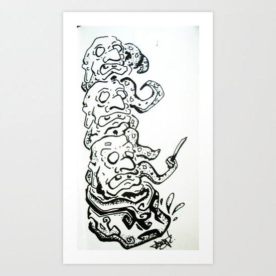 3 Hedz is Better than 1 Art Print