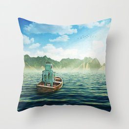 Swim back to shore Throw Pillow