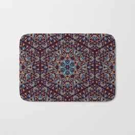 Brown and blue geometric Mandala Rich ornament Bath Mat
