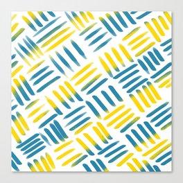 Blue Yellow Stitch Canvas Print