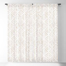 Abstract Leaf Pattern in Tan Blackout Curtain