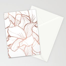 Modern handdrawn abstract faux rose gold flowers pattern Stationery Cards