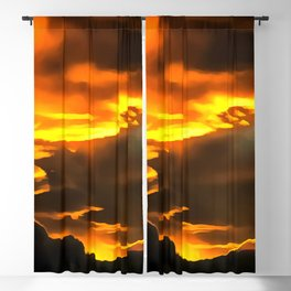 cloudy burning sky reacstd Blackout Curtain